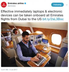 Emirates Twitter Electronics Ban