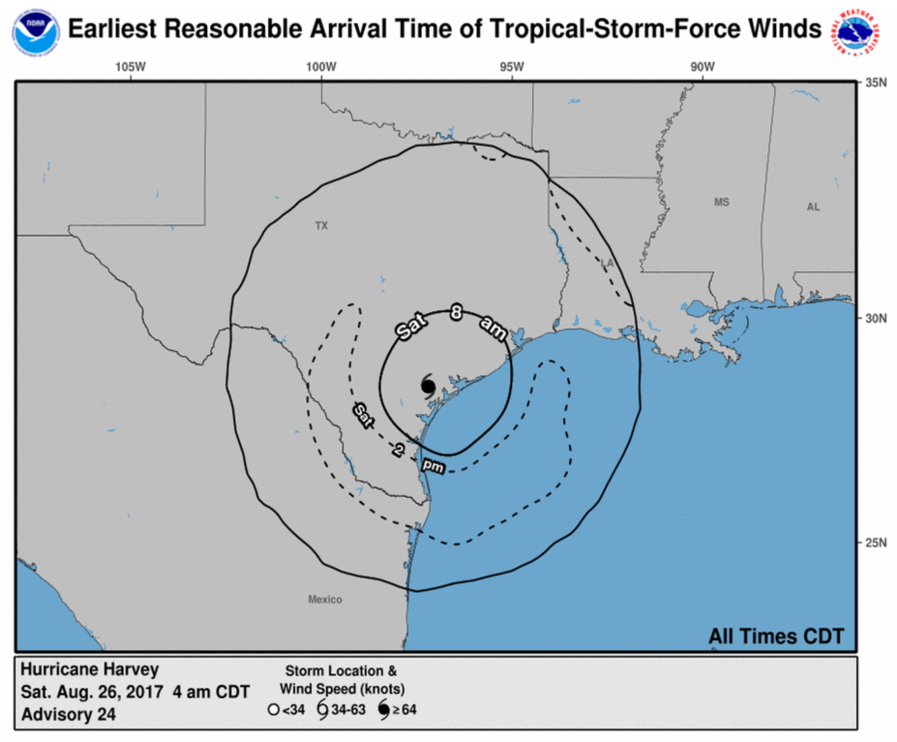Hurricane Harvey Winds NOAA NWS