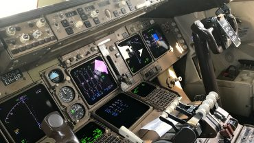 Cockpit of Delta Boeing 747-400 in Seoul ICN