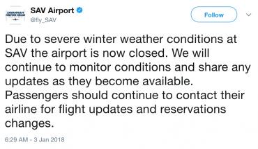 SAV Savannah Hilton Head airport closure first winter storm of 2018 snow bomb cyclone