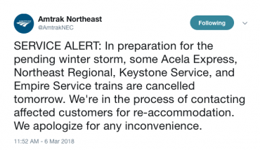 Winter Storm Quinn Midweek Nor'easter Amtrak Service cancelled