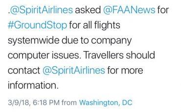 Spirit Airlines tweet groundstop FAA