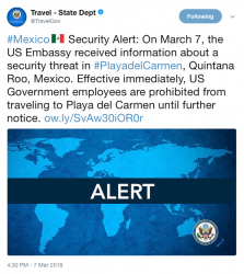 TravelGov Tweet Playa del Carmen alert