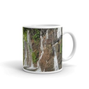 Waterfalls Cascade Down a Wall of Rock in the El Salvador Rainforest on Mug