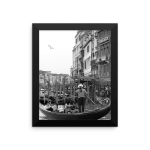 A Bird Soars over a Gondola and Gondolier in Venice, Italy in a Framed Poster