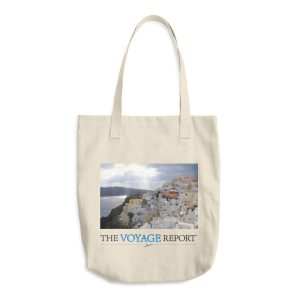 Sun Rays Fall on the Famous Village of Oia on the Greek island of Santorini on this Cotton Tote Bag
