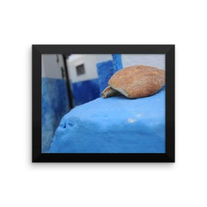 Loaves of Bread Surrounded by the Striking Blue and White Walls of the Old City in Rabat, Morocco in a Framed Poster