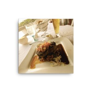 A Succulent Filet Cut on a Plate Overlooking the Atlantic Ocean in Bermuda on Canvas