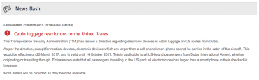 Emirates electronics ban notice TSA
