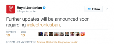 Electronicsban electronics ban royal jordanian twitter