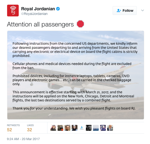 Electronics Ban Royal Jordanian