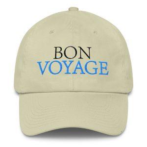 Bon Voyage Slogan (in Blue & Black) Cotton Cap