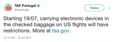 TAP Portugal electronics ban