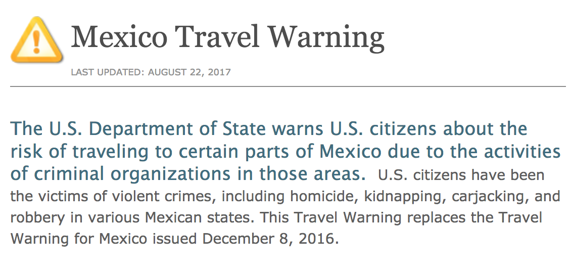 Is There A State Department Travel Alert For Mexico