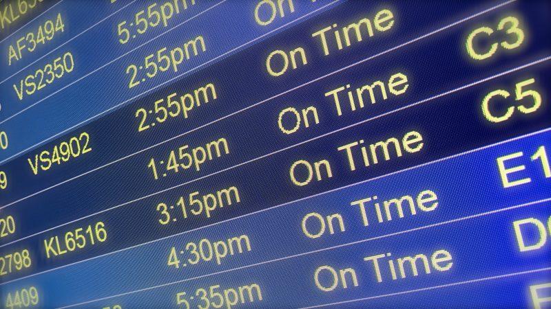 MSP Minneapolis St Paul International Airport on time punctual arrival board departure board flights