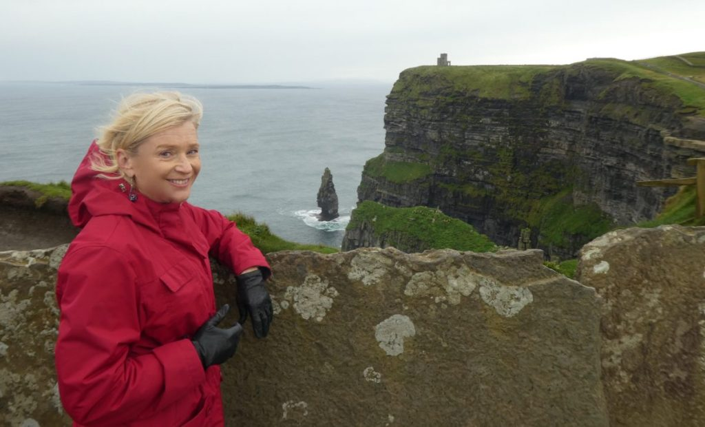 Terry Anzur at Cliffs of Moher on Wild Atlantic Way Ireland